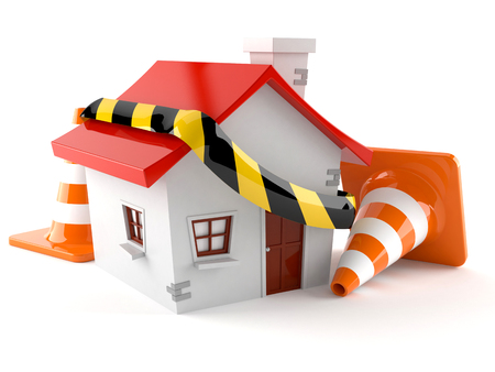 House with traffic cones isolated on white background