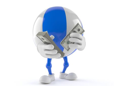Beach ball character counting money isolated on white background