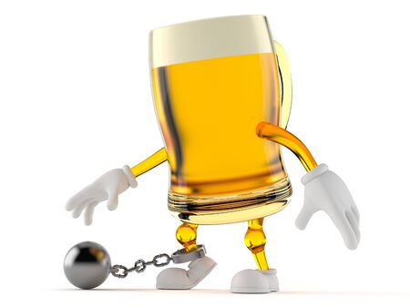 Beer character with prison ball isolated on white background