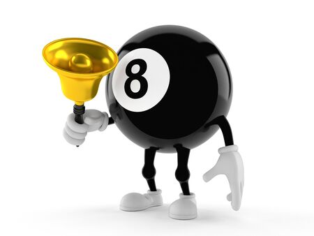 Eight ball character ringing a handbell isolated on white background