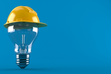 Light bulb with hardhat isolated on blue background