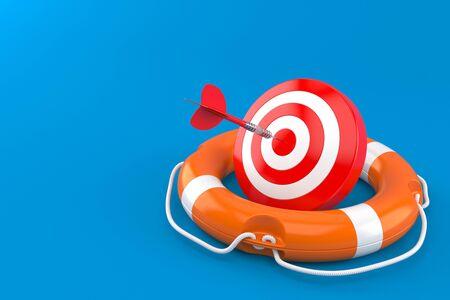 Bulls eye with life buoy isolated on blue background