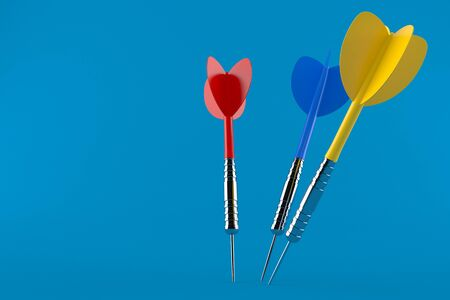 Darts isolated on blue background