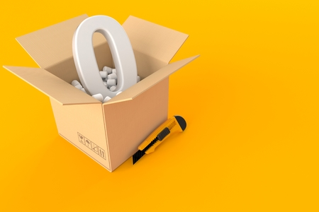 Box with zero symbol isolated on orange background Stok Fotoğraf - 91993863