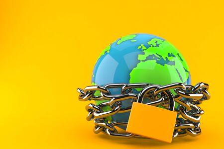 World globe with chain isolated on orange background