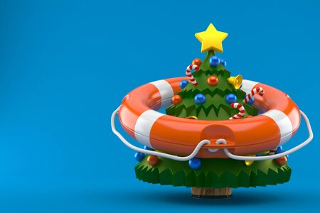 Christmas tree with life buoy isolated on blue background
