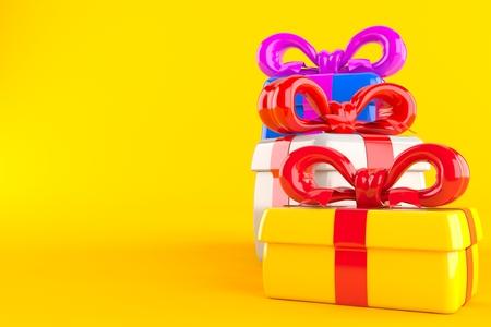 Gifts isolated on orange background