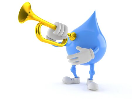 Water drop character playing the trumpet isolated on white background Stock Photo