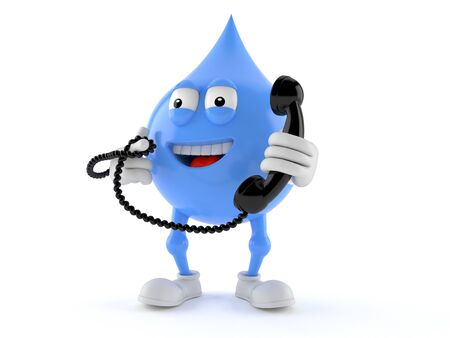 Water drop character holding a telephone handset isolated on white background