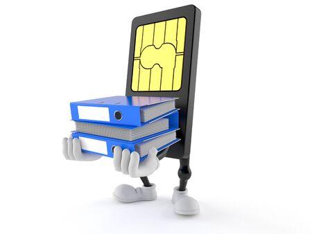 SIM-kaart karakter dragende ringbanden geïsoleerd op een witte achtergrond