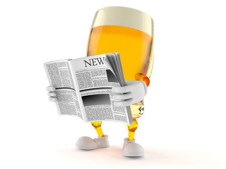 Beer character reading newspaper on white background Stock Photo