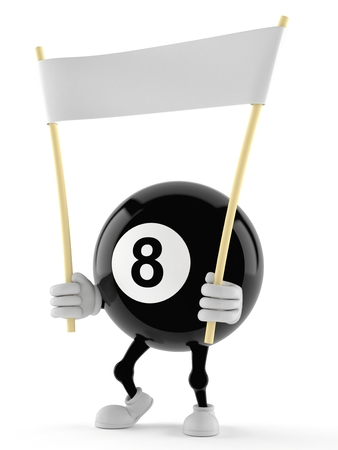 Eight ball character holding banner on white background