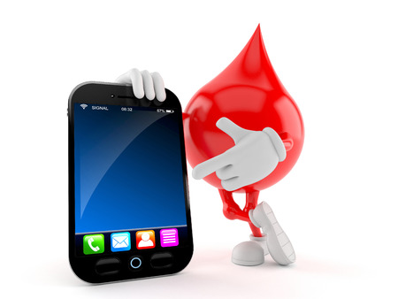 Blood drop character with smart phone isolated on white background