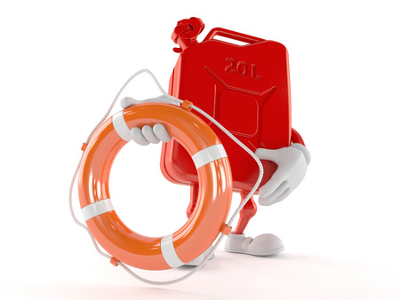 Petrol canister character holding life buoy isolated on white background
