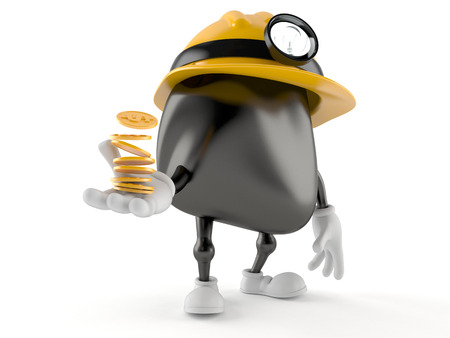 Miner character with coins isolated on white background