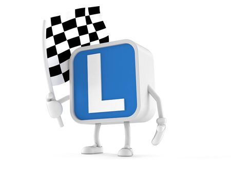 Driving lessons character holding race flag isolated on white background