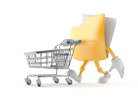 Folder character with shopping cart isolated on white background