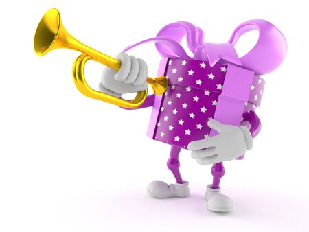 Gift character playing the trumpet isolated on white background