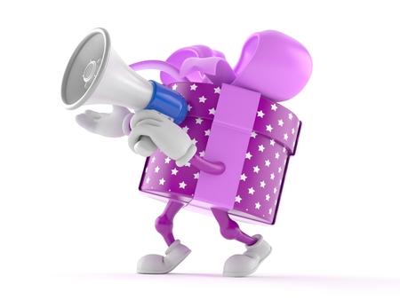 personaje de regalo hablando a través de un megáfono aislado en el fondo blanco