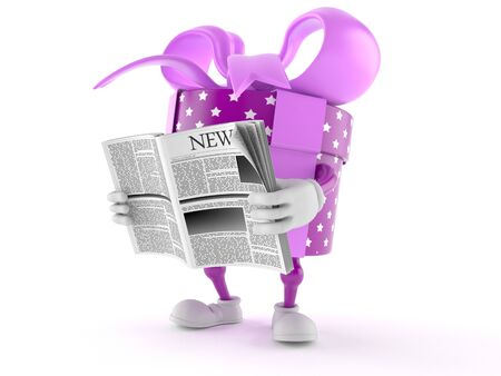 Gift character reading newspaper on white background