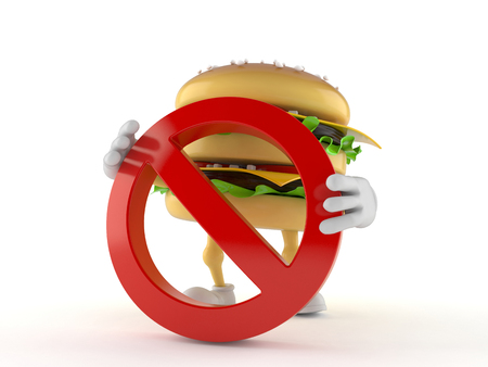 Hamburger character with forbidden sign isolated on white background
