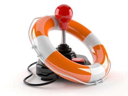 Joystick with life buoy isolated on white background Stock Photo