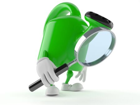Watering can character looking through magnifying glass isolated on white background