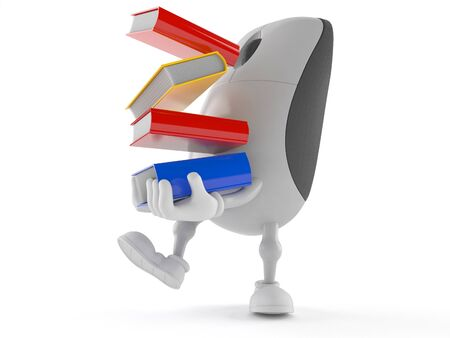 Computer mouse character carrying books isolated on white background Фото со стока