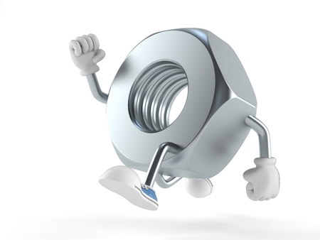 Nut character running on white background