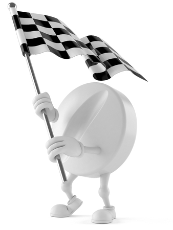 Tablet character with racing flag isolated on white background Stock Photo