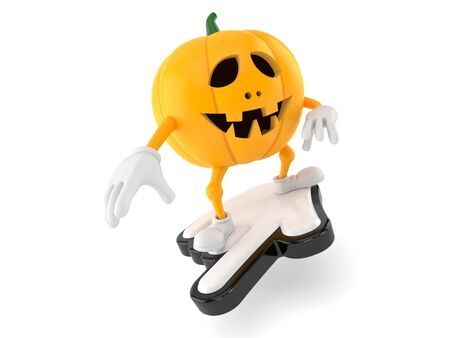 Halloween pumpkin character with cursor isolated on white background