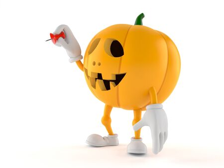 Halloween pumpkin character holding thumbtack isolated on white background