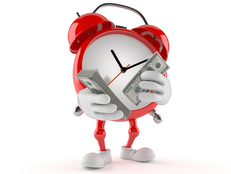 Alarm clock character counting money on white background Stock Photo