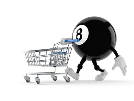 Eight ball character with shopping cart isolated on white background Stock Photo