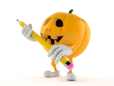 Halloween pumpkin character holding pencil isolated on white background