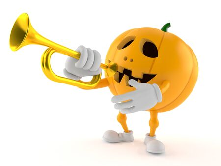 Halloween pumpkin character playing the trumpet isolated on white background Stock Photo