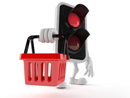 Red light character holding shopping basket isolated on white background