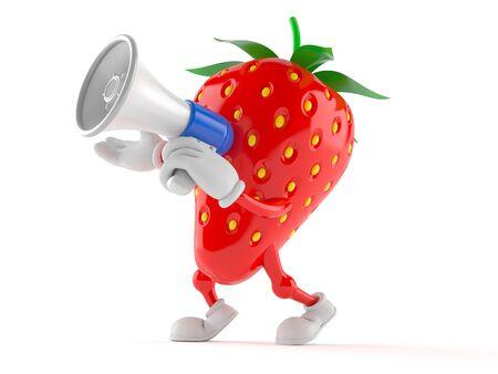白い背景に隔離されたメガホンを通して話すイチゴのキャラクター