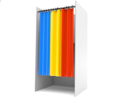 Vote cabinet with romania flag isolated on white background