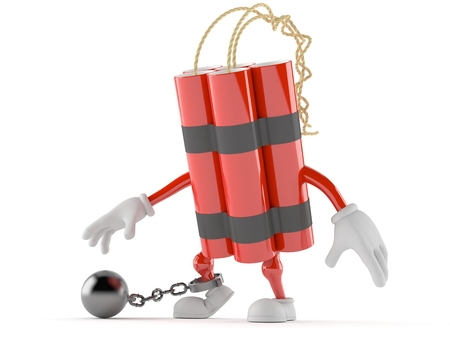Dynamite character with prison ball isolated on white background Stock Photo