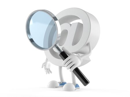 E-mail character looking through magnifying glass isolated on white background
