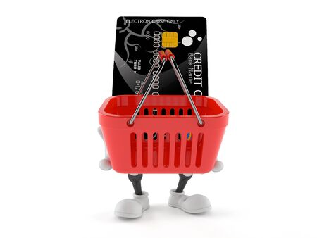 Credit card character holding shopping basket isolated on white background