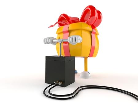 Gift character with detonator isolated on white background Imagens