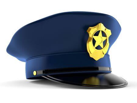 白い背景に隔離された警察の帽子 写真素材