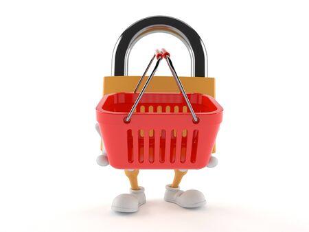 Padlock character holding shopping basket isolated on white background Stock Photo