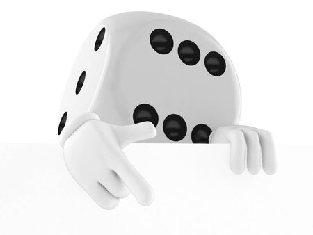 Dice character behind white board isolated on white background