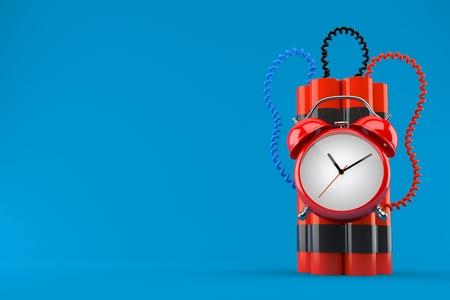 Time bomb isolated on blue background