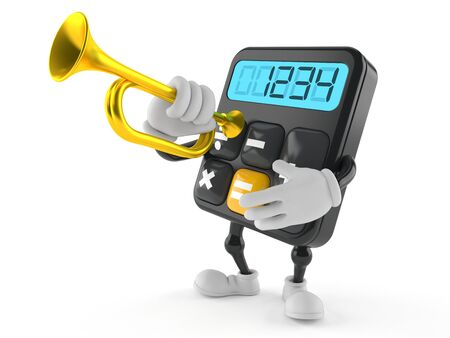 Calculator character playing the trumpet isolated on white background