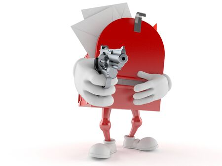 Mailbox character aiming a gun isolated on white background