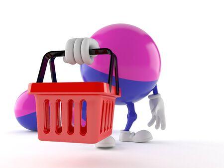 Paintball character holding shopping basket isolated on white background Imagens